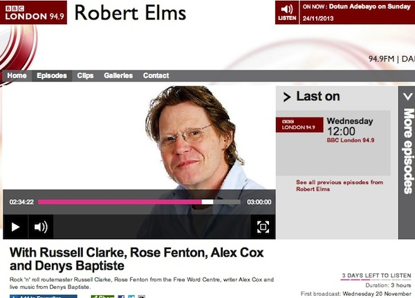 BBC Robert Elms-Denys Baptiste interview